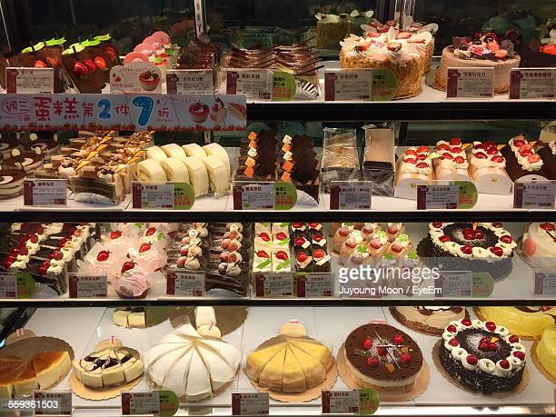Pastries And Cakes Displayed In Bakery Shop