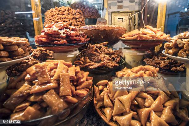 pastries and sweets of morocco - moroccan culture stock photos and pictures