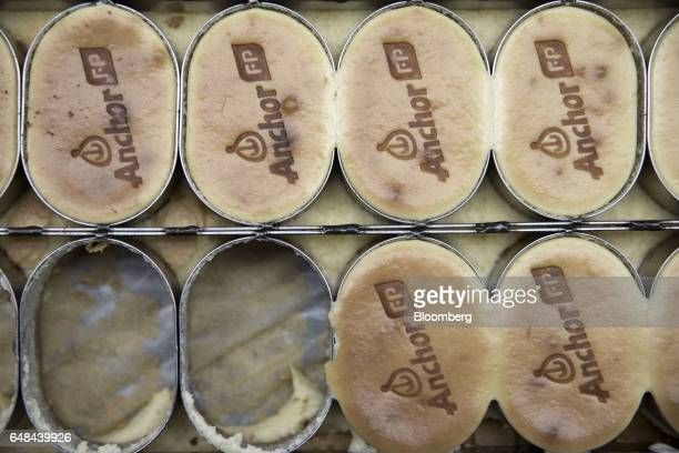 Pastries branded with the Anchor logo sit in a tray at an industrial kitchen run by Fonterra Cooperative Group Ltd in Shanghai China on Tuesday Dec...