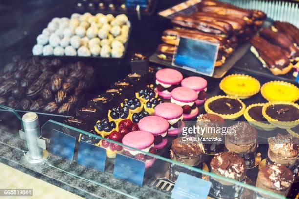 Pastries Display in Patisserie Shop Window