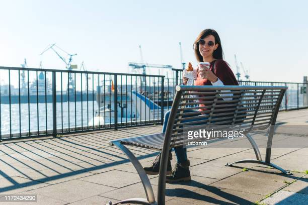 pastry and coffee for breakfast - quayside stock pictures, royalty-free photos & images