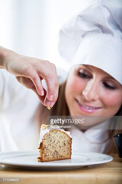 Chef acabado de una torta