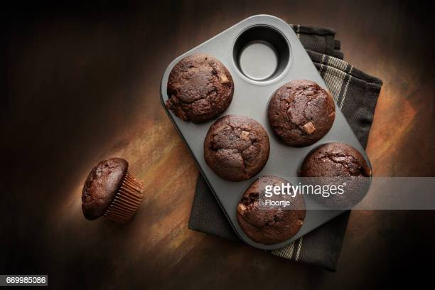 pastry: chocolate muffins still life - chocolate cake above stock pictures, royalty-free photos & images