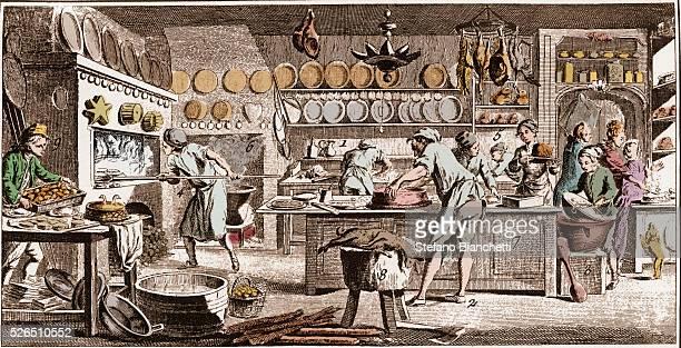 Pastry cook engraving from La Grande Encyclopedie ou Dictionnaire Raisonne des Sciences des Arts et des Metiers by Denis Diderot and Jean d'Alembert
