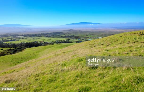 Pasture ranch land above Kamuela Hawaii with views of Mauna Loa and Hualalai