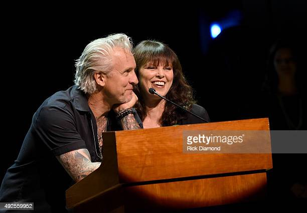 Pat Benatar and Neil Giraldo speak onstage after being inducted into the IEBA Hall of Fame at the IEBA Honors Awards Ceremony during the IEBA 2015...
