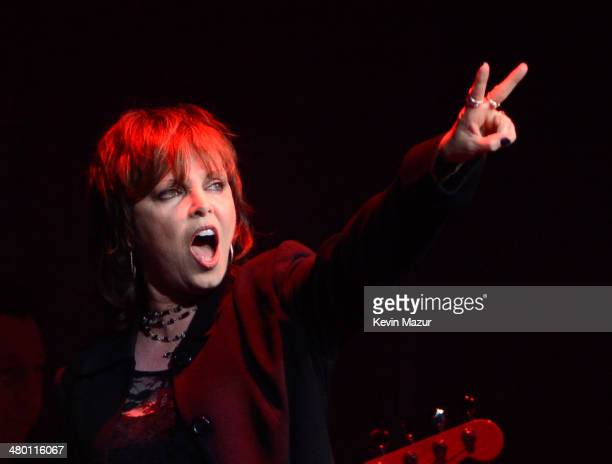 Pat Benatar performs onstage before Cher's 'Dressed To Kill' tour opener at US Airways Center on March 22 2014 in Phoenix Arizona