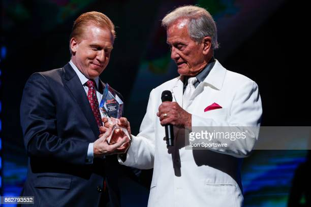 Pat Boone receives the SoundExchange Fair Play Award from Michael Huppe during the 48th Annual GMA Dove Awards in Allen Arena on October 17 2017 in...