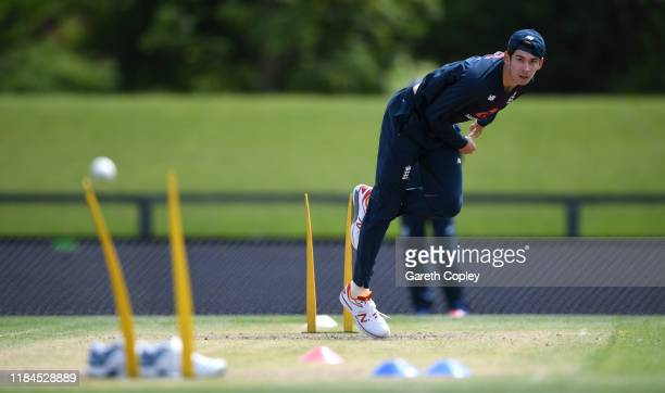 Pat Brown of England bowls during a nets session at Hagley Park on October 31 2019 in Christchurch New Zealand