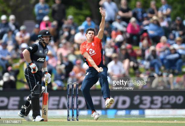 Pat Brown of England bowls during game one of the Twenty20 International series between New Zealand and England at Hagley Oval on November 01 2019 in...
