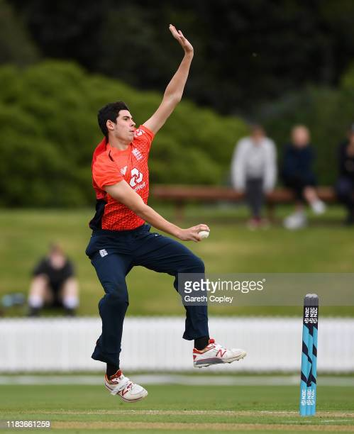 Pat Brown of England bowls during the tour match between New Zealand XI and England at Bert Sutcliffe Oval on October 27 2019 in Lincoln New Zealand