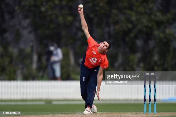 Pat Brown of England bowls during the Twenty20 International match between the New Zealand XI and England at Bert Sutcliffe Oval on October 29 2019...