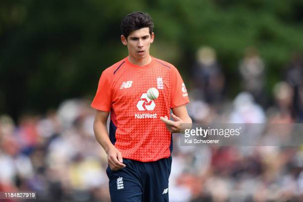 Pat Brown of England looks on during game one of the Twenty20 International series between New Zealand and England at Hagley Oval on November 01 2019...