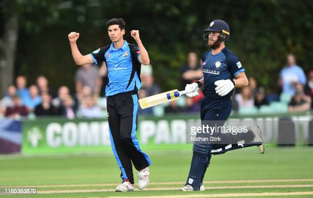 Pat Brown of Worcestershire celebrates as he gets Luis Reece of Derbyshire out during the Vitality Blast match between Worcestershire Rapids and...
