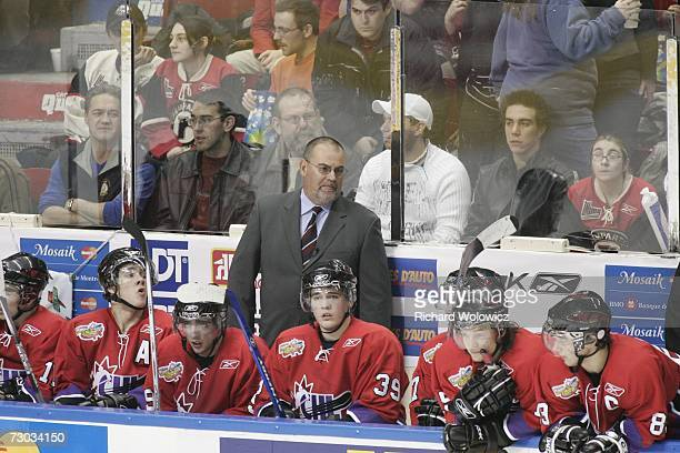 Pat Burns coaches Team BurnsBergeron during the 2007 Home Hardware CHL/NHL Top Prospects Game against Team BowmanDemers at Colisee Pepsi on January...
