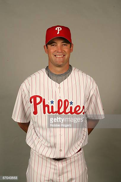 Pat Burrell of the Philadelphia Phillies during photo day at Bright House Networks Field on February 23 2006 in Clearwater Florida