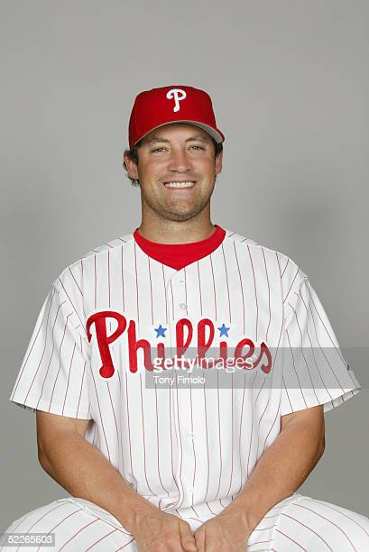 Pat Burrell of the Philadelphia Phillies poses for a portrait during photo day at Bright House Networks Field on February 24, 2005 in Clearwater,...