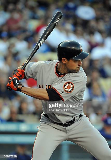 Pat Burrell of the San Francisco Giants at bat against the Los Angeles Dodgers at Dodger Stadium on September 5 2010 in Los Angeles California The...