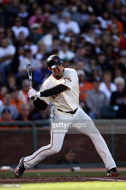 Pat Burrell of the San Francisco Giants bats against the Los Angeles Dodgers at ATT Park on August 1 2010 in San Francisco California