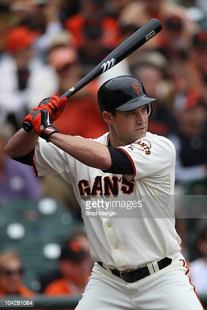 Pat Burrell of the San Francisco Giants bats against the Milwaukee Brewers during the game at ATT Park on September 19 2010 in San Francisco...