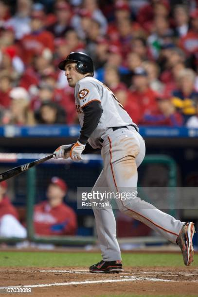 Pat Burrell of the San Francisco Giants bats against the Philadelphia Phillies in Game One of the NLCS during the 2010 MLB Playoffs at Citizens Bank...