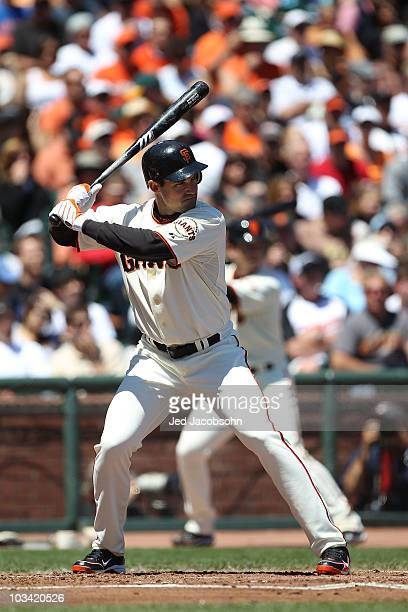 Pat Burrell of the San Francisco Giants bats against the San Diego Padres during an MLB game at ATT Park on August 14 2010 in San Francisco California