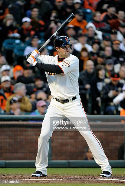 Pat Burrell of the San Francisco Giants stands at the plate ready to hit against the Los Angeles Dodgers during a MLB baseball game at ATT Park April...