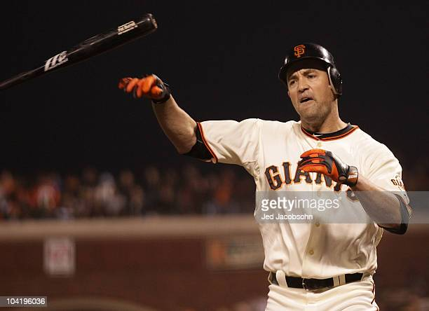 Pat Burrell of the San Francisco Giants strikes out in the first inning against the Los Angeles Dodgers during a Major League Baseball game at ATT...