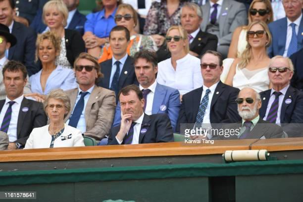 Pat Cash, Leona Lewis, Bear Grylls, Shara Grylls, Birgitte, Duchess of Gloucester, Philip Brook and Prince Michael of Kent on Centre Court during day...
