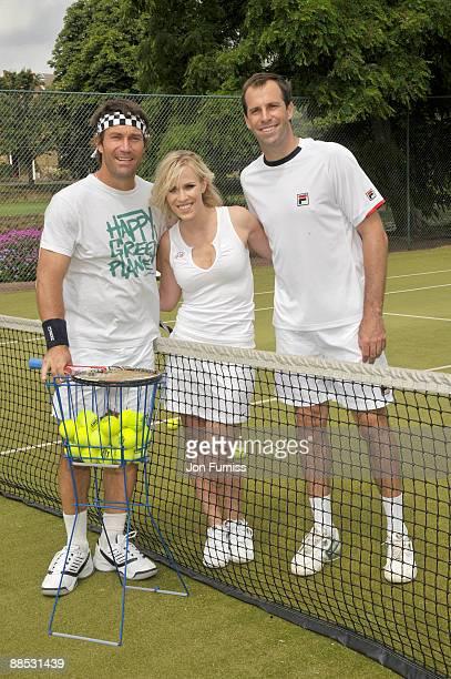 Pat Cash Natasha Bedingfield and Greg Rusedski promote Evian's sponsorship of The Championships Wimbledon at The Hurlingham Club on June 17 2009 in...