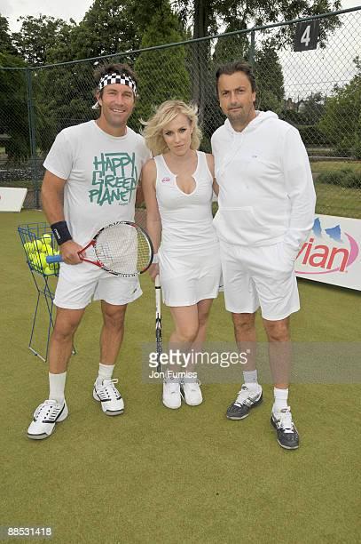 Pat Cash Natasha Bedingfield and Henri Leconte promote Evian's sponsorship of The Championships Wimbledon at The Hurlingham Club on June 17 2009 in...