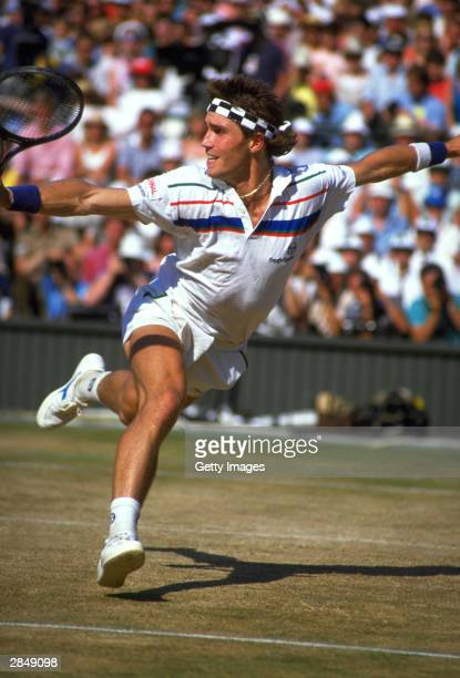 Pat Cash of Australia in action during the Men's singles final against Ivan Lendl at the All Lawn Tennis Championships held in WimbledonLondon in...