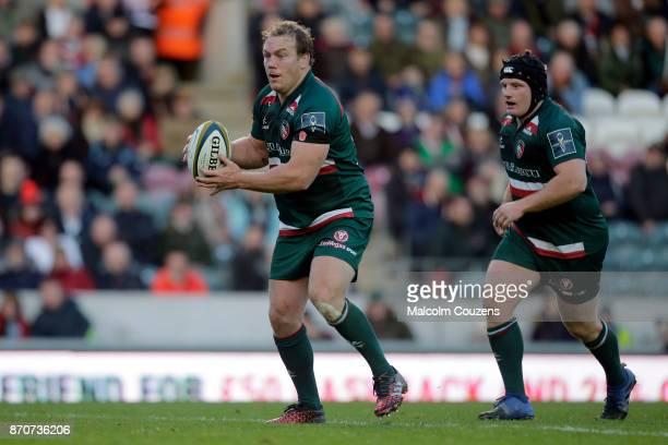 Pat Cilliers and Kyle Trainer of Leicester Tigers during the AngloWelsh Cup tie between Leicester Tigers and Gloucester Rugby at Welford Road on...