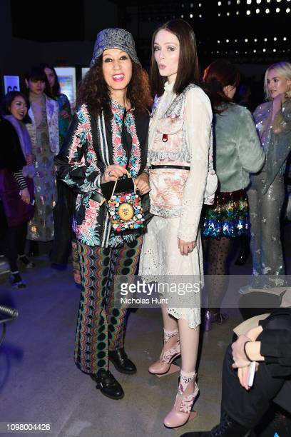 Pat Cleveland and Kareon Elson attend the Anna Sui front row during New York Fashion Week The Shows at Gallery I at Spring Studios on February 11...