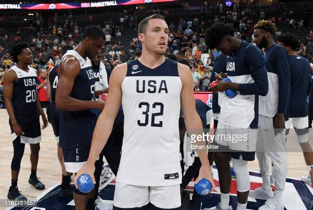 Pat Connaughton of the 2019 USA Men's Select Team prepares to throw autographed balls to the crowd after the 2019 USA Basketball Men's National Team...