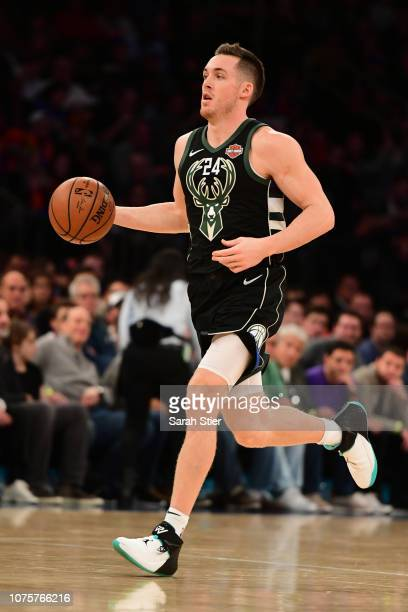 Pat Connaughton of the Milwaukee Bucks dribbles the ball during the third quarter of the game against New York Knicks at Madison Square Garden on...