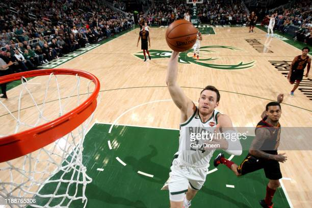 Pat Connaughton of the Milwaukee Bucks drives to the basket during a game against the Cleveland Cavaliers on December 14 2019 at the Fiserv Forum...