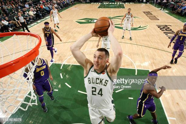 Pat Connaughton of the Milwaukee Bucks dunks the ball against the Los Angeles Lakers on March 19 2019 at the Fiserv Forum in Milwaukee Wisconsin NOTE...