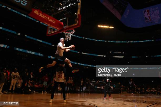 Pat Connaughton of the Milwaukee Bucks dunks the ball during the 2020 NBA AllStar ATT Slam Dunk on February 15 2020 at the United Center in Chicago...