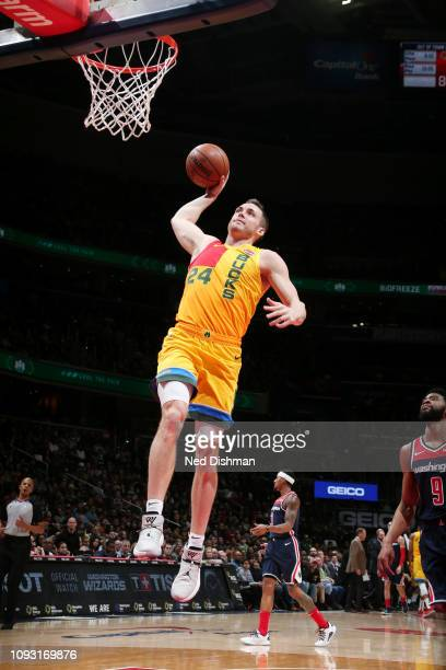 Pat Connaughton of the Milwaukee Bucks goes up for a dunk against the Washington Wizards on February 2 2019 at Capital One Arena in Washington DC...