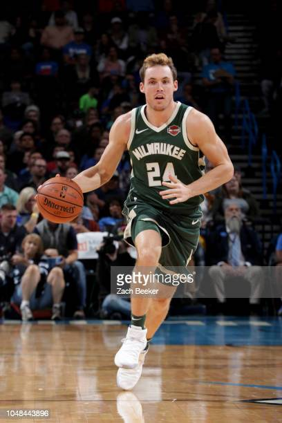 Pat Connaughton of the Milwaukee Bucks handles the ball against the Oklahoma City Thunder during a preseason game on October 9 2018 at Chesapeake...