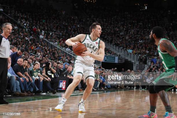 Pat Connaughton of the Milwaukee Bucks handles the ball against the Boston Celtics during Game Five of the Eastern Conference Semifinals of the 2019...