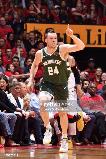 Pat Connaughton of the Milwaukee Bucks reacts during a game against the Toronto Raptors during Game Three of the Eastern Conference Finals of the...