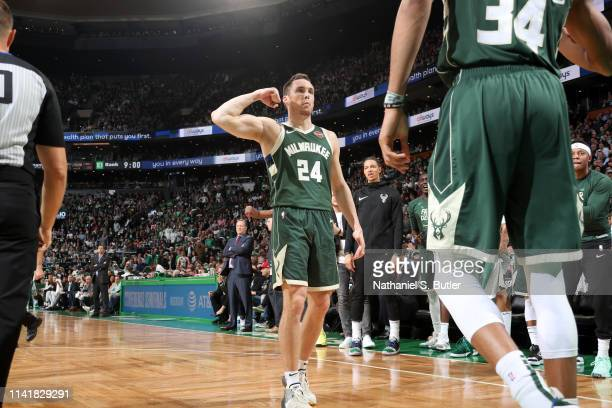 Pat Connaughton of the Milwaukee Bucks reacts to a play against the Boston Celtics during Game Four of the Eastern Conference Semifinals of the 2019...
