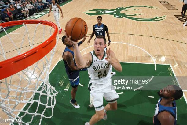 Pat Connaughton of the Milwaukee Bucks shoots the ball against the Minnesota Timberwolves during a preseason game on October 17 2019 at the Fiserv...