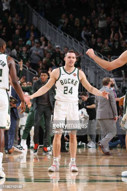 Pat Connaughton of the Milwaukee Bucks smiles during a game against the Orlando Magic on December 28 2019 at the Fiserv Forum Center in Milwaukee...