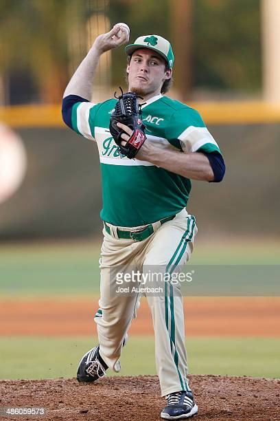 Pat Connaughton of the Notre Dame Fighting Irish throws the ball against the Miami Hurricanes on April 21 2014 at Alex Rodriguez Park at Mark Light...