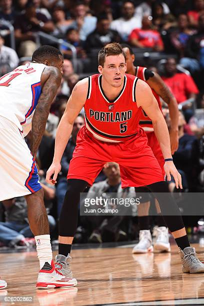 Pat Connaughton of the Portland Trail Blazers defends against the LA Clippers on November 09 2016 at STAPLES Center in Los Angeles California NOTE TO...