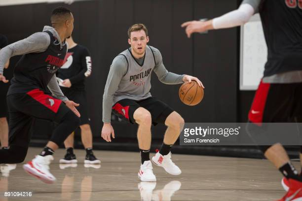 Pat Connaughton of the Portland Trail Blazers dribbles the ball during an all access practice on December 7 2017 at the Trail Blazer Practice...