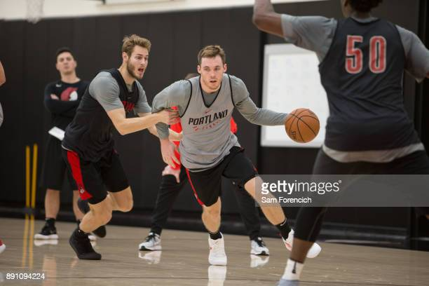 Pat Connaughton of the Portland Trail Blazers drives to the basket during an all access practice on December 7 2017 at the Trail Blazer Practice...
